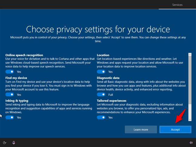 Configurarea setărilor de confidențialitate pentru dispozitivul tău cu Windows 10