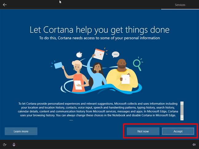 Opțiunea de a activa sau dezactiva Cortana