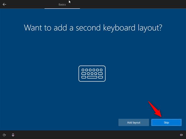 Opțiunea de a adăuga o tastatură secundară sau nu
