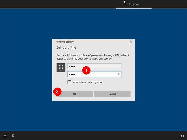 Crearea codului PIN asociat contului tău de utilizator