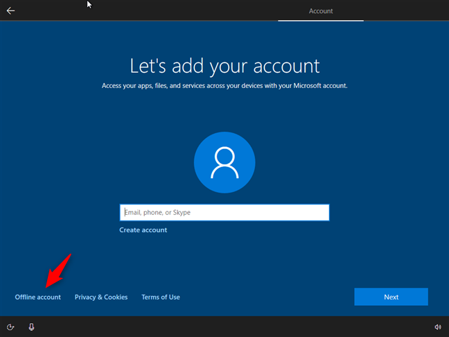 Opțiunea de a folosi un cont local offline în loc de un cont Microsoft