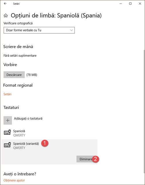 Eliminare tastatură din Windows 10