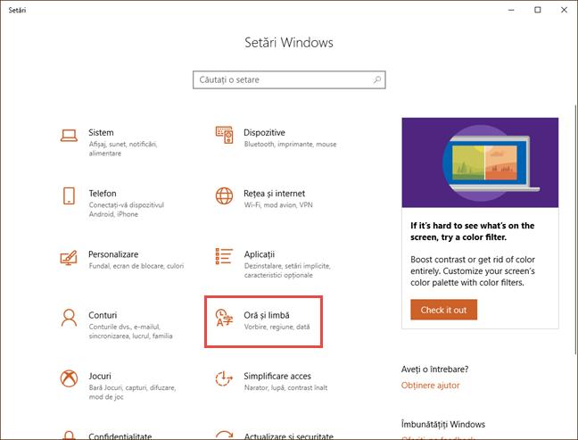 Aplicația Setări pentru Windows 10