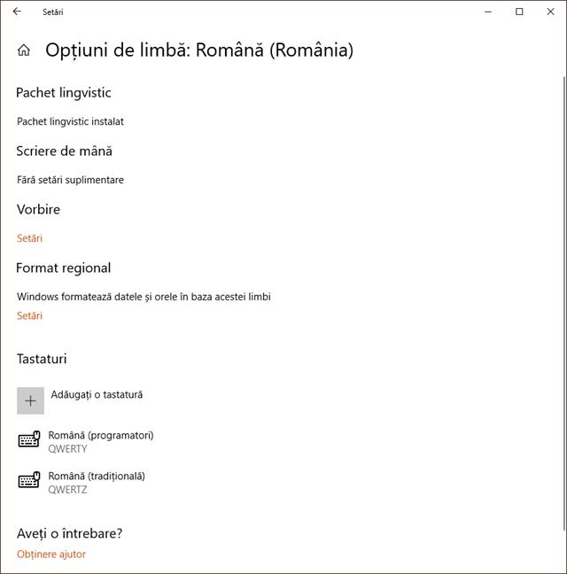 Tastaturile adăugate în Windows 10