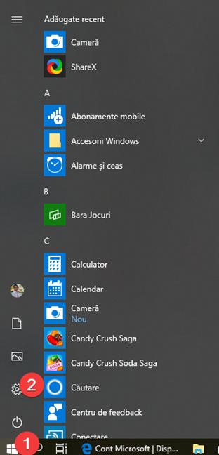 Pornește Setări în Windows 10