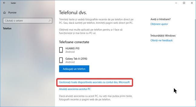 Gestionați toate dispozitivele asociate cu contul dvs. Microsoft