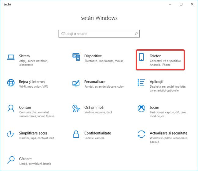 Accesează fereastra Telefon în Setări pentru Windows 10