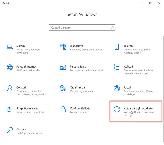 Setări Windows 10