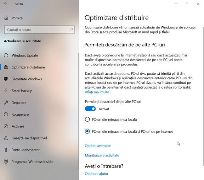 Setează Windows 10 să descarce actualizări de la alte PC-uri