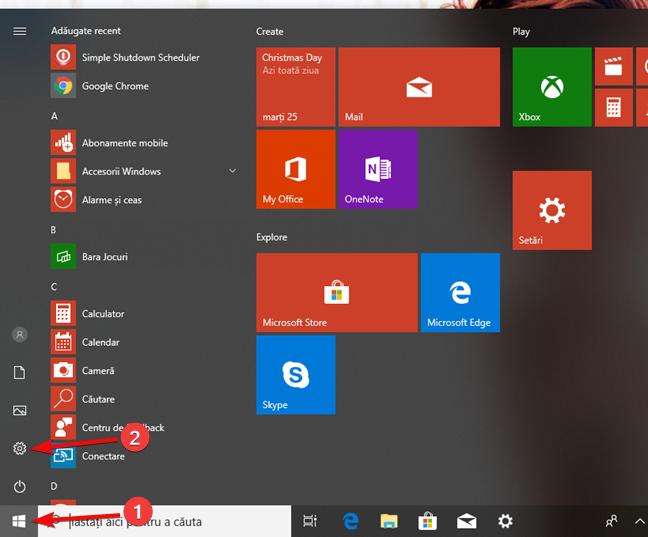 Deschide Setări din meniul Start în Windows 10
