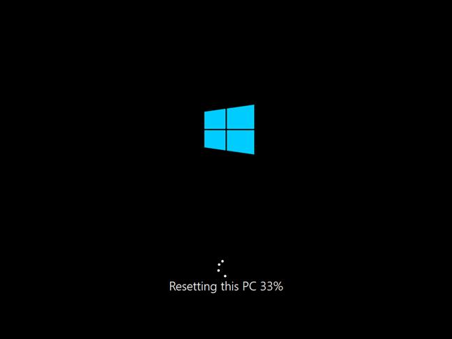 Progresul resetării acestui PC