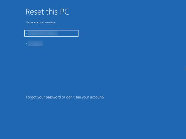 Alege utilizatorul tău pentru a valida cererea de resetare