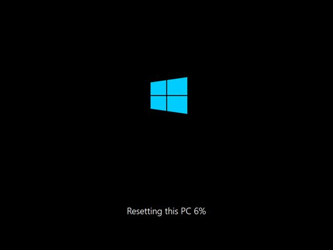 Progresul în resetarea acestui PC