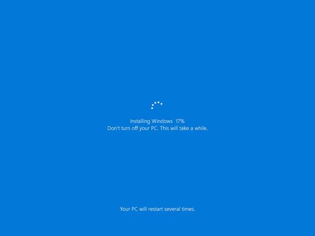 Instalarea de Windows 10 ca parte a procesului de resetare