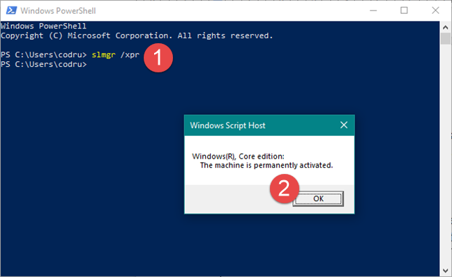 Comanda slmgr /xpr în Windows Powershell