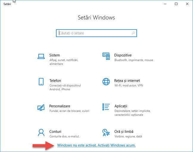 Aplicația Setări când îți spune că Windows 10 trebuie activat