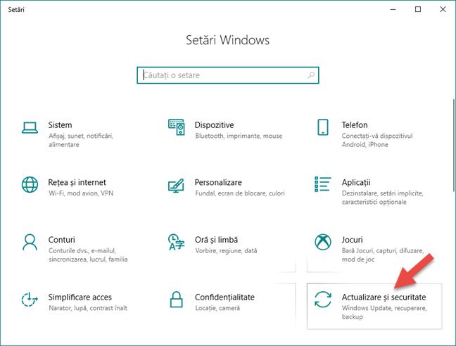 Secțiunea Actualizare și securitate din aplicația Setări