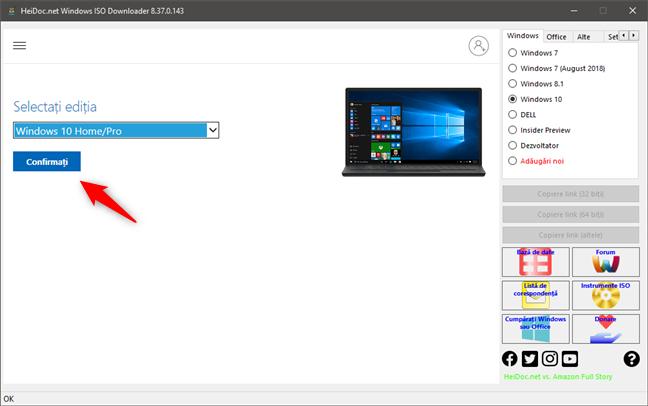 Confirmarea ediției de Windows 10 pentru descărcare (ISO)