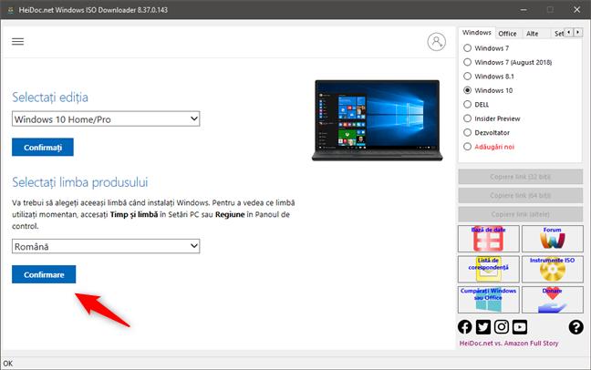 Confirmarea limbii pentru imaginea ISO Windows 10 de descărcat