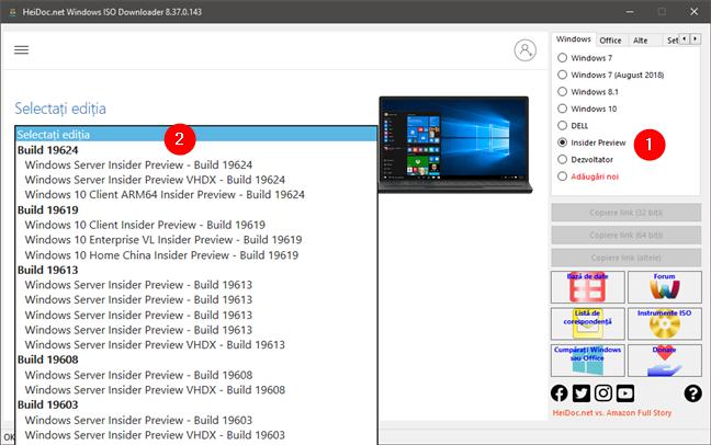 Descărcare directă ISO Windows 10 Insider Preview