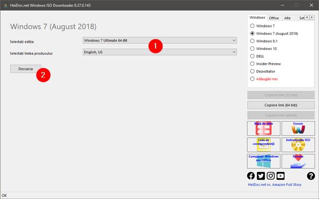 Selectarea ediției și a limbii pentru fișierul ISO de Windows descărcat