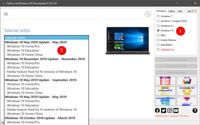 Selectarea ediției de Windows 10 ISO de descărcat
