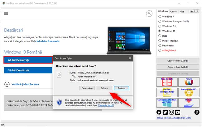 Salvarea fișierului ISO cu Windows 10