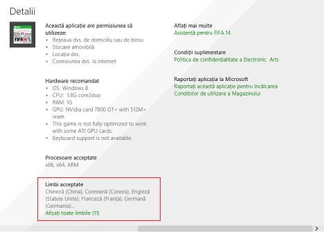 Windows 8.1, aplicatii, Magazin, preferinte, accesibilitate, limba, recomandari