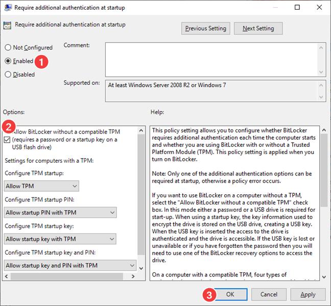Setează Allow BitLocker without a compatible TPM