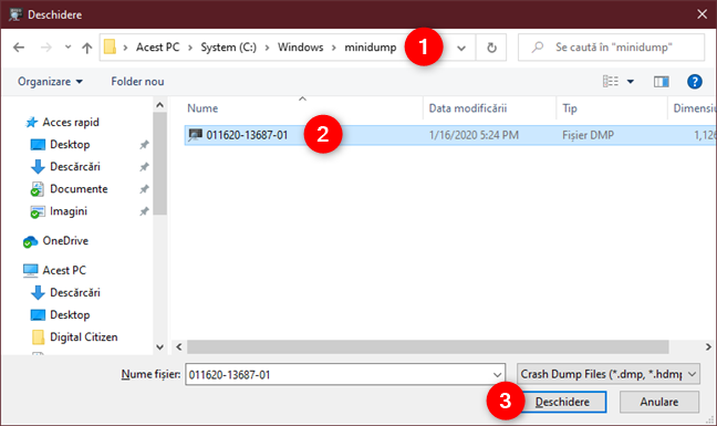 Navigarea prin PC și deschiderea unui fișier dump