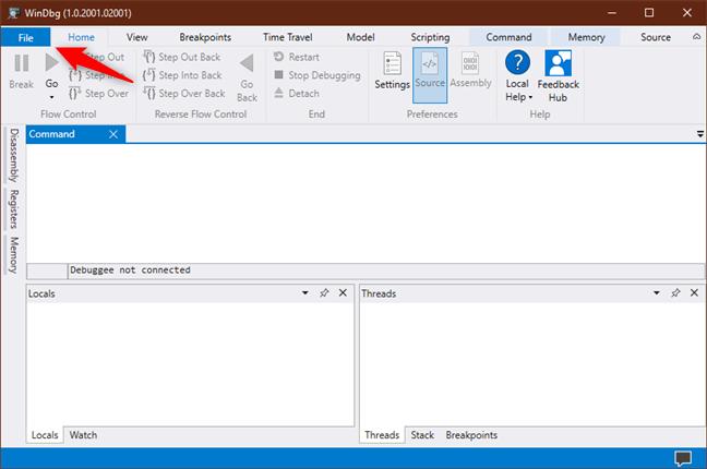 Butonul File (Fișier) din WinDbg Preview