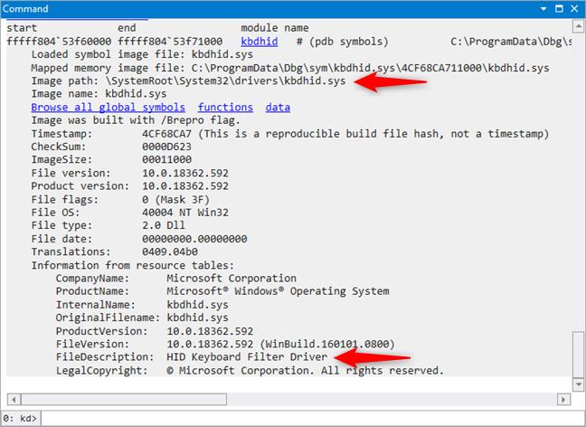 Image path și FileDescription ajută în a identifica driverele care cauzează probleme