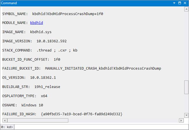 Informațiile afișate de SYMBOL_NAME, MODULE_NAME, and IMAGE_NAME