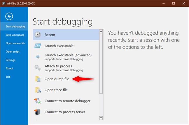 Opțiunea de a deschide un fișier dump cu WinDbg Preview