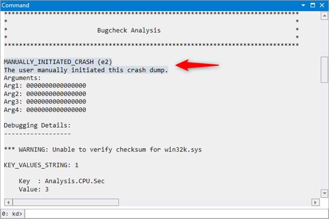 Rezultatele Bugcheck Analysis din WinDbg Preview