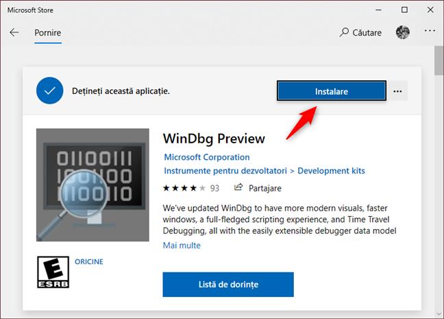 Instalarea WinDbg Preview