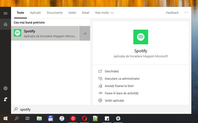 Panoul de căutare, în Windows 10 October 2018 Update
