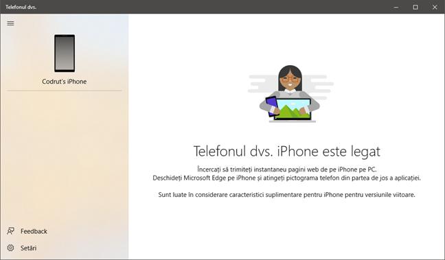 Aplicația Your Phone (Telefonul dvs.), în Windows 10 October 2018 Update