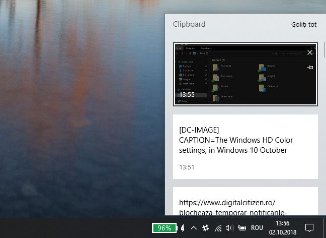 Istoricul din clipboard, în Windows 10 October 2018 Update