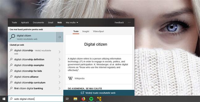 Căutarea de rezultate pe web în Windows 10