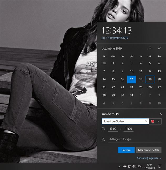 Poți crea evenimente din fereastra Calendar de pe bara de activități