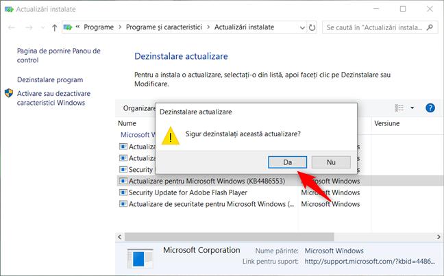 Dezinstalarea unei actualizări din Windows 10