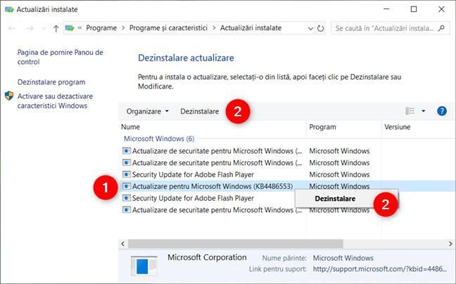 Opțiunea de a dezinstala o actualizare din Windows 10