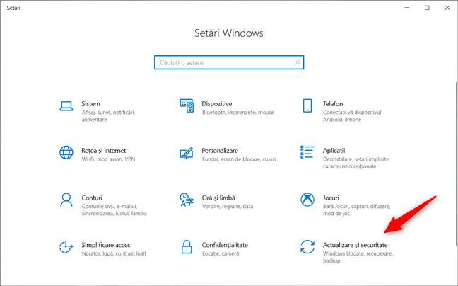Categoria Actualizare și securitate din Setările din Windows 10