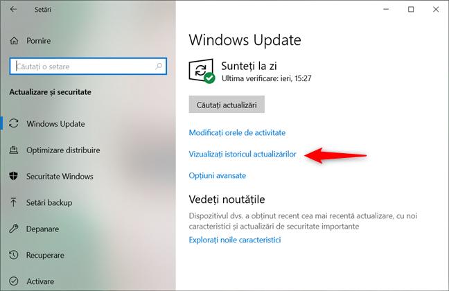 Legătura Vizualizați istoricul actualizărilor din setările Windows Update