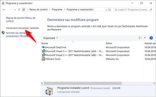 Opțiunea Vizualizare actualizări instalate din Programe și caracteristici