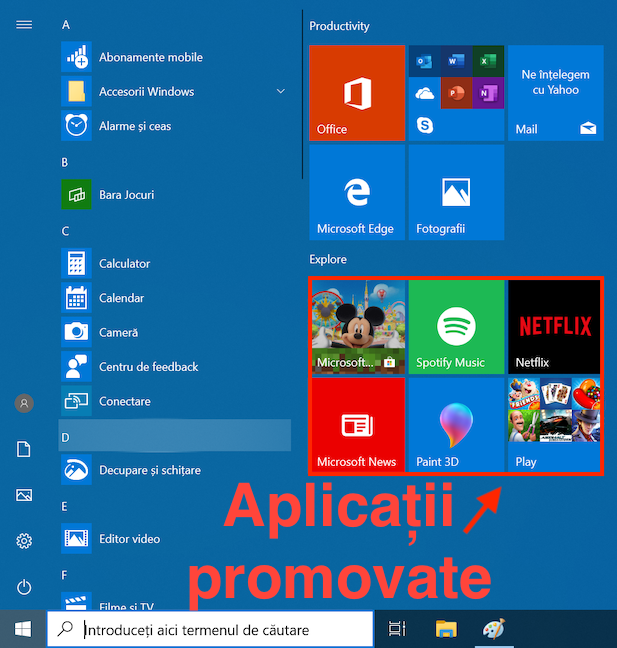Aplicațiile promovate din Windows 10 din Meniul Start