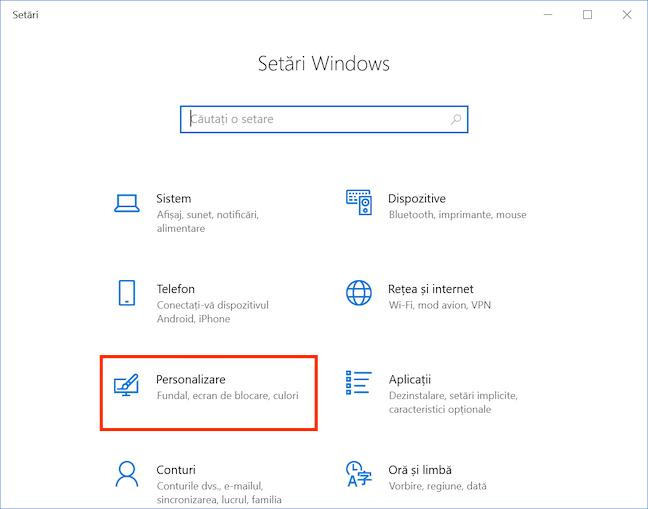Alege Personalizare în Setările Windows 10