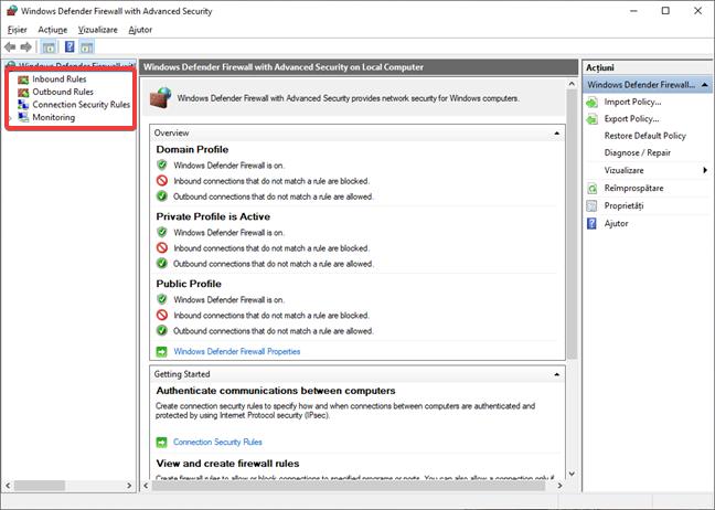 Setări complexe pentru Paravanul de protecție Windows Defender