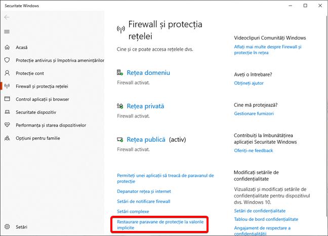 Legătura pentru Restaurare paravane de protecție la valorile implicite în Windows 10